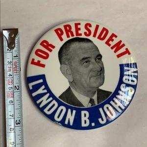 Lyndon B. Johnson for President Political Button